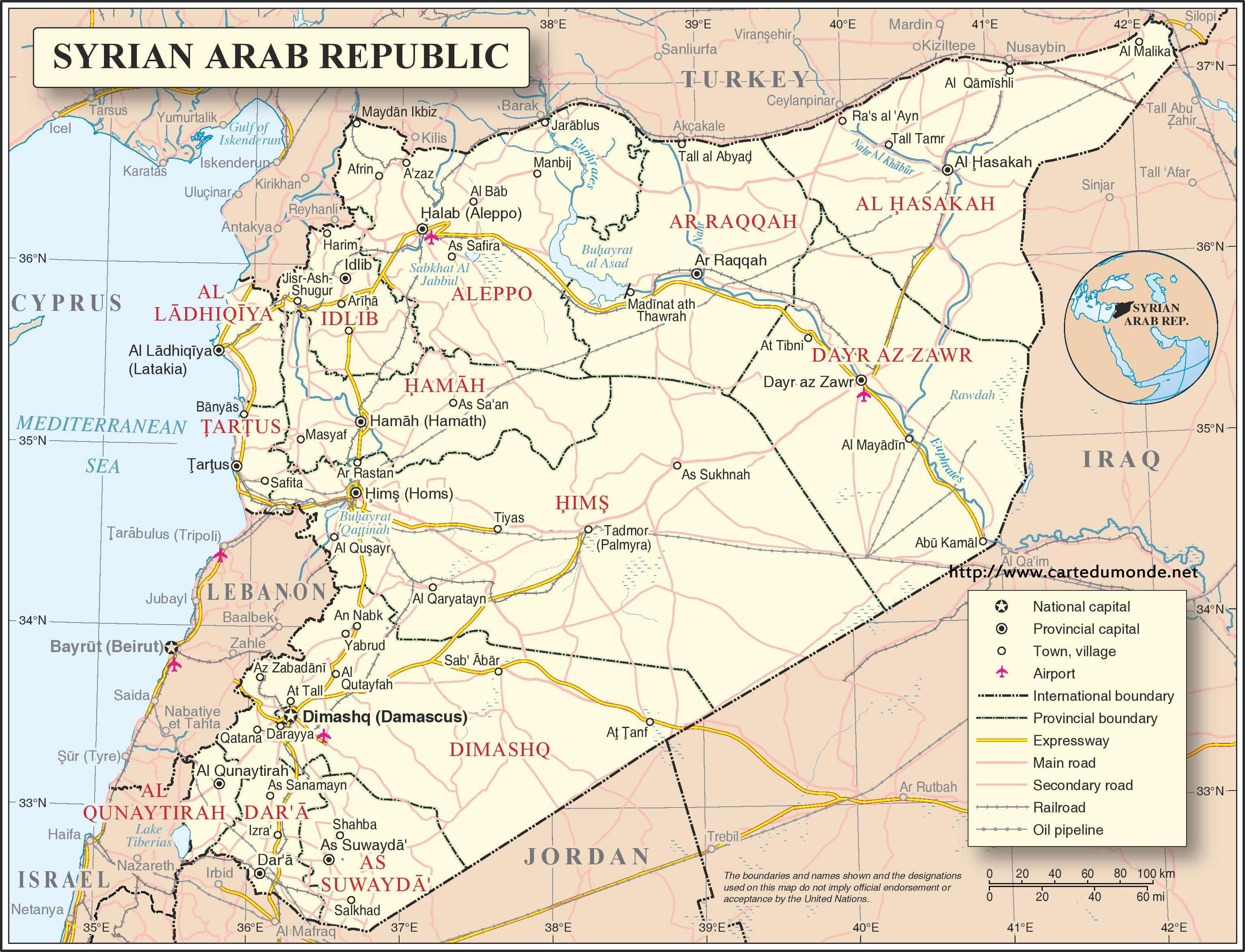 Karte vergrößern Syrien