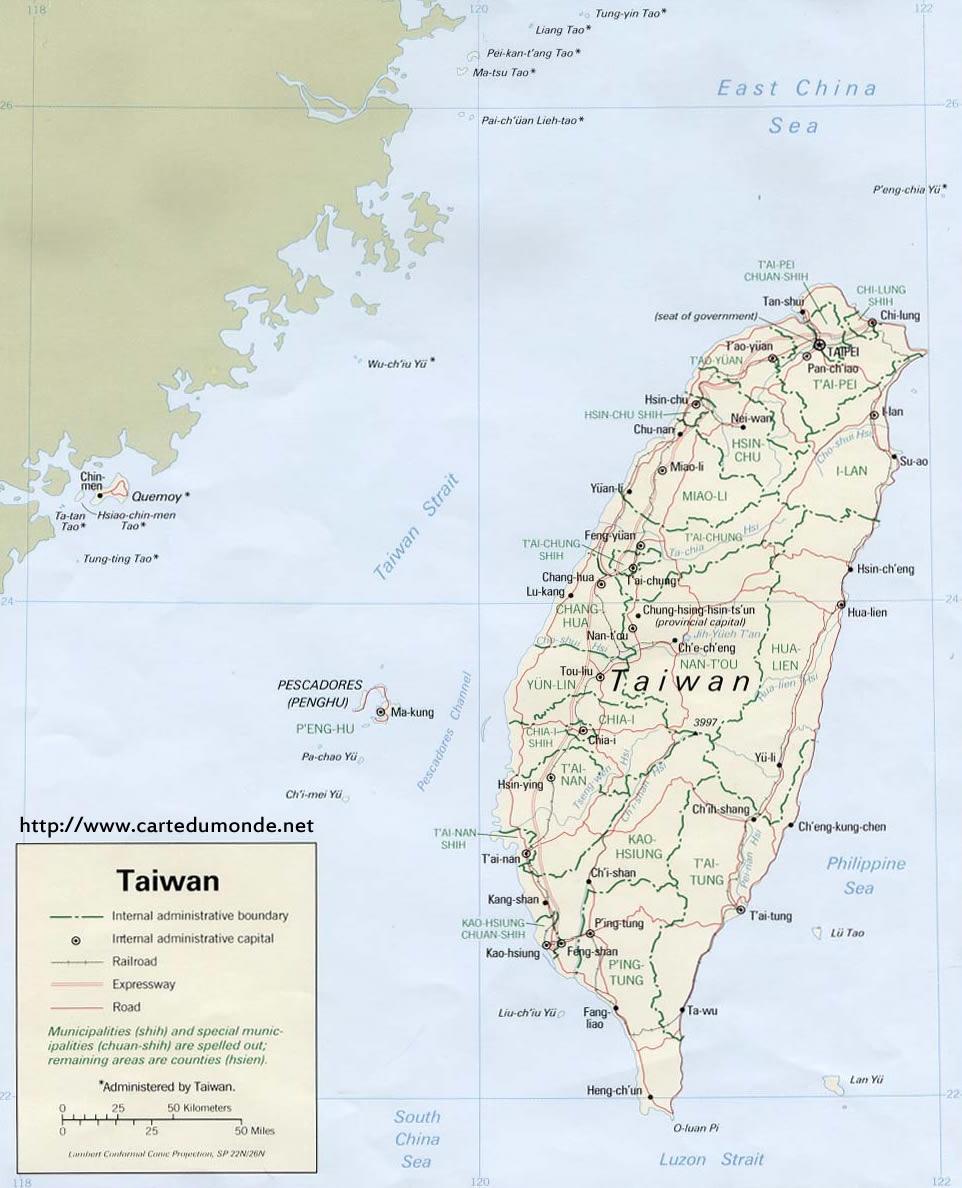 Duzy Mapa Tajwan Na Mapie Swiata