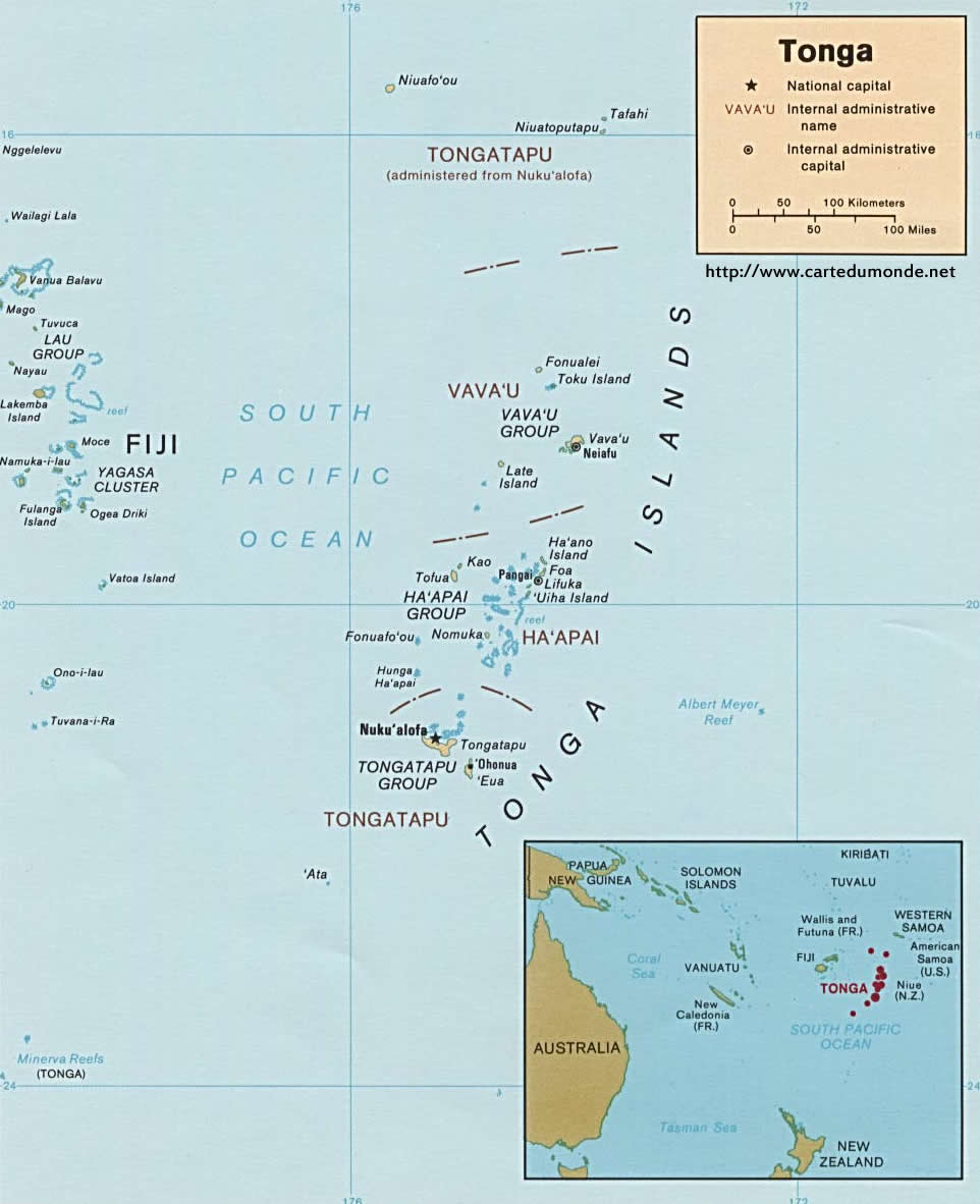 Image of: Larger Map Tonga On World Map