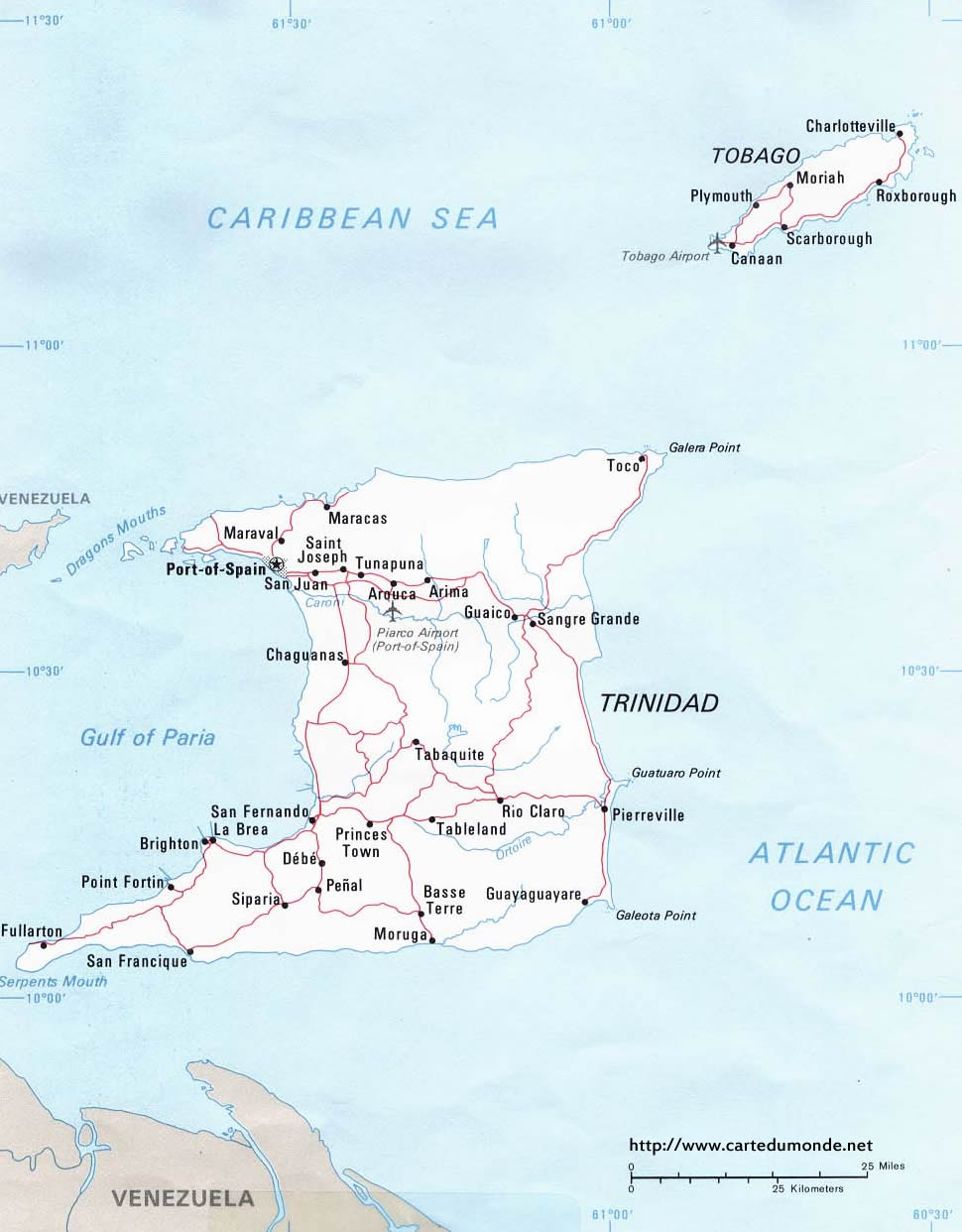 Image of: Map Trinidad And Tobago Country Map Trinidad And Tobago