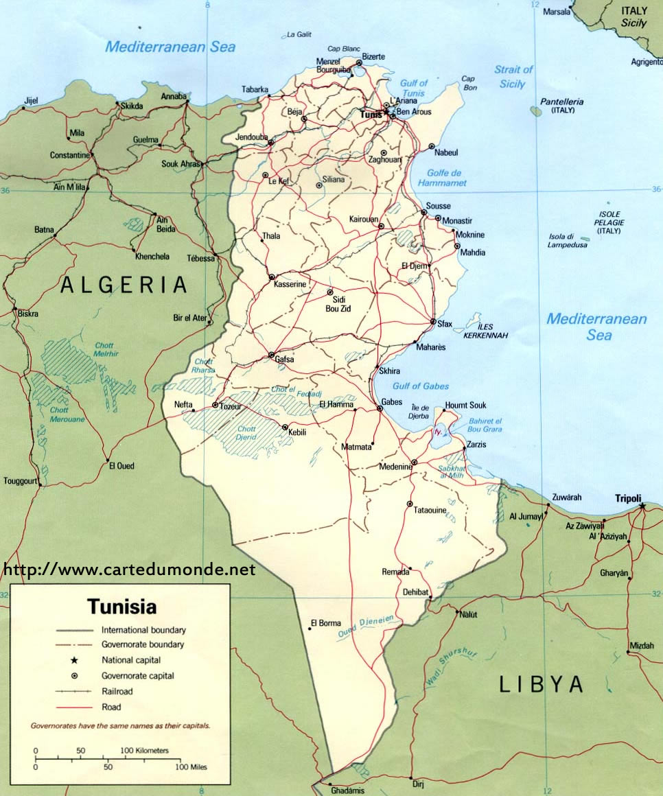 Image of: Map Tunisia Country Map Tunisia