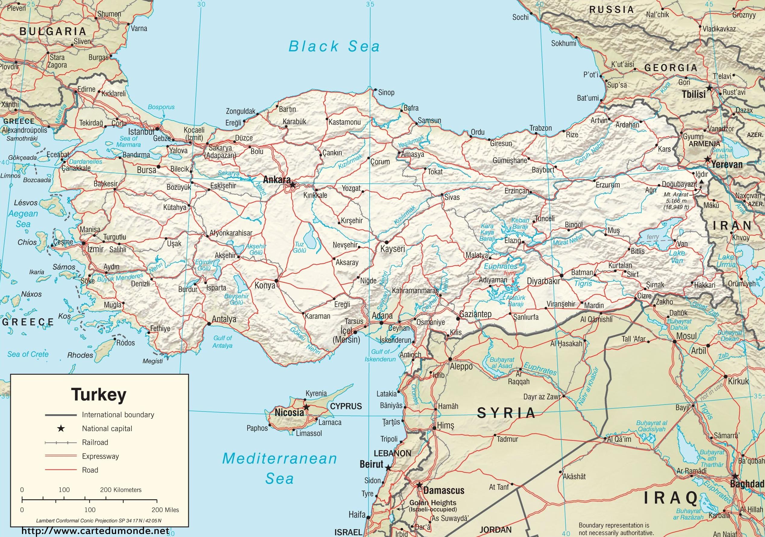 Duzy Mapa Turcja Na Mapie Swiata