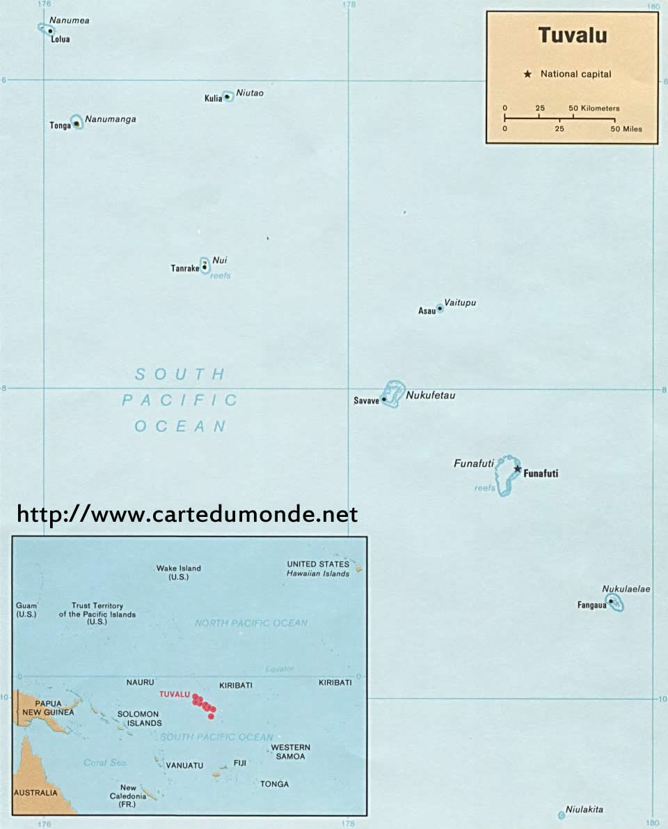Map Tuvalu Country Map Tuvalu