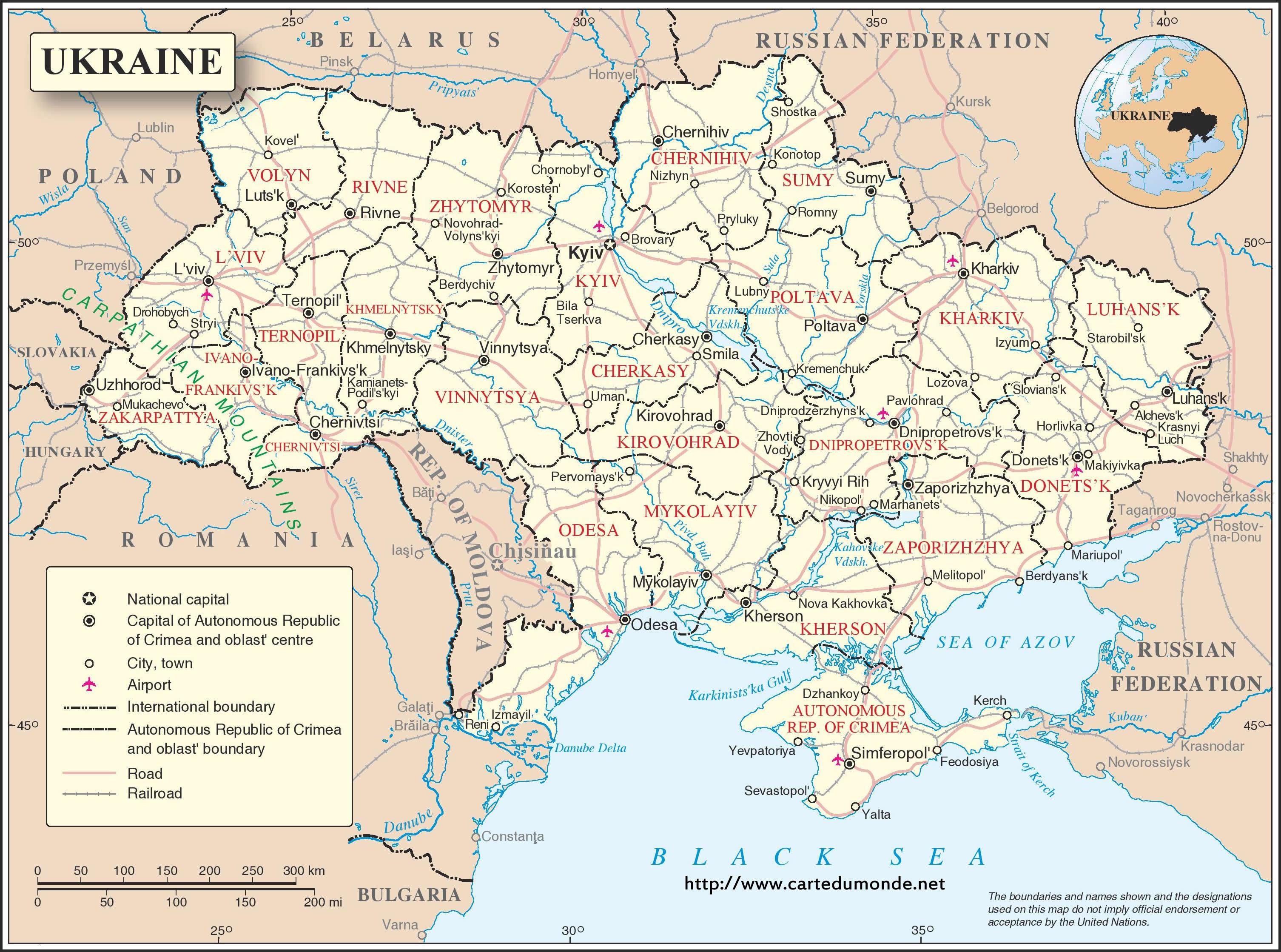 Karte Ukraine Karte Auf Land Ukraine