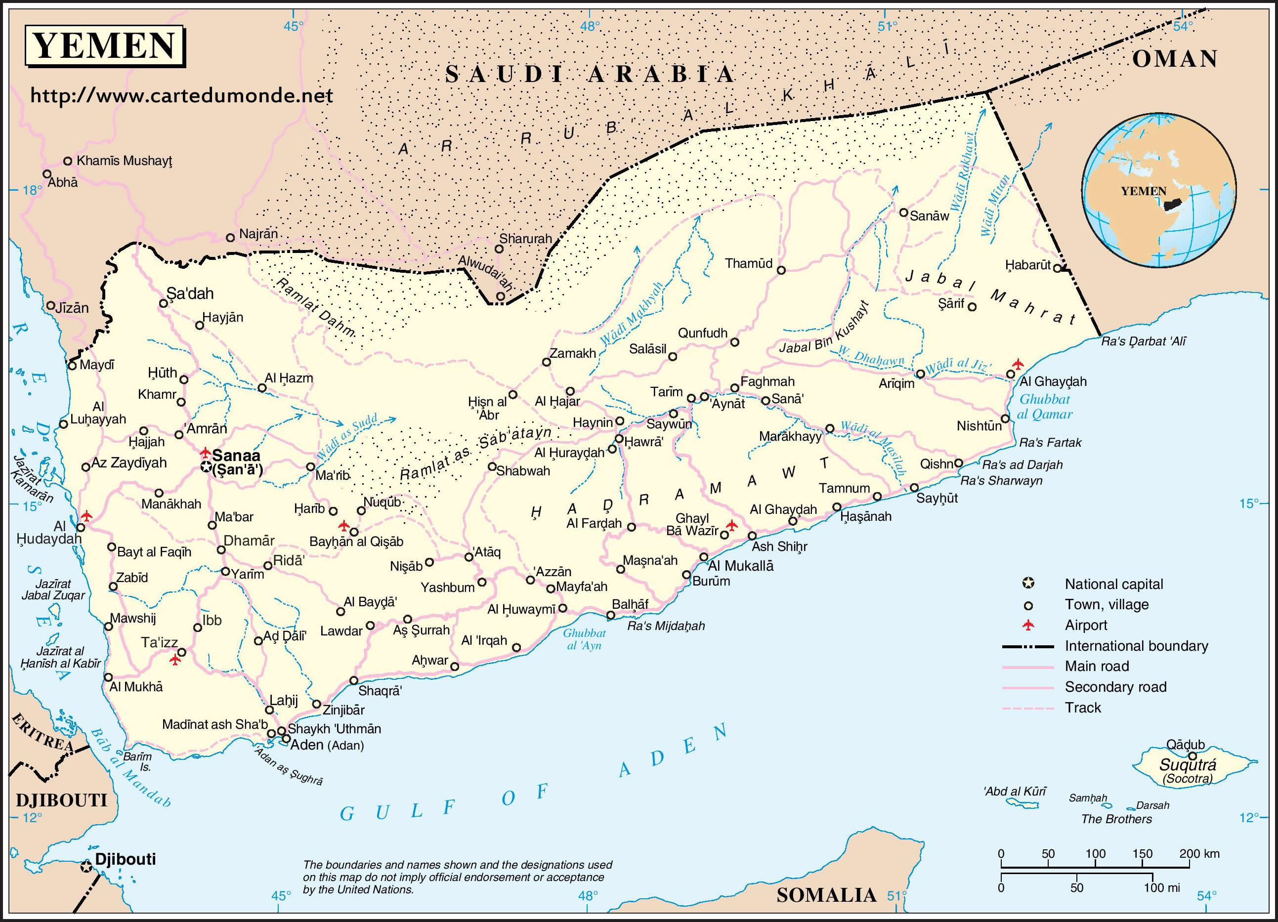 Map Yemen Country Map Yemen