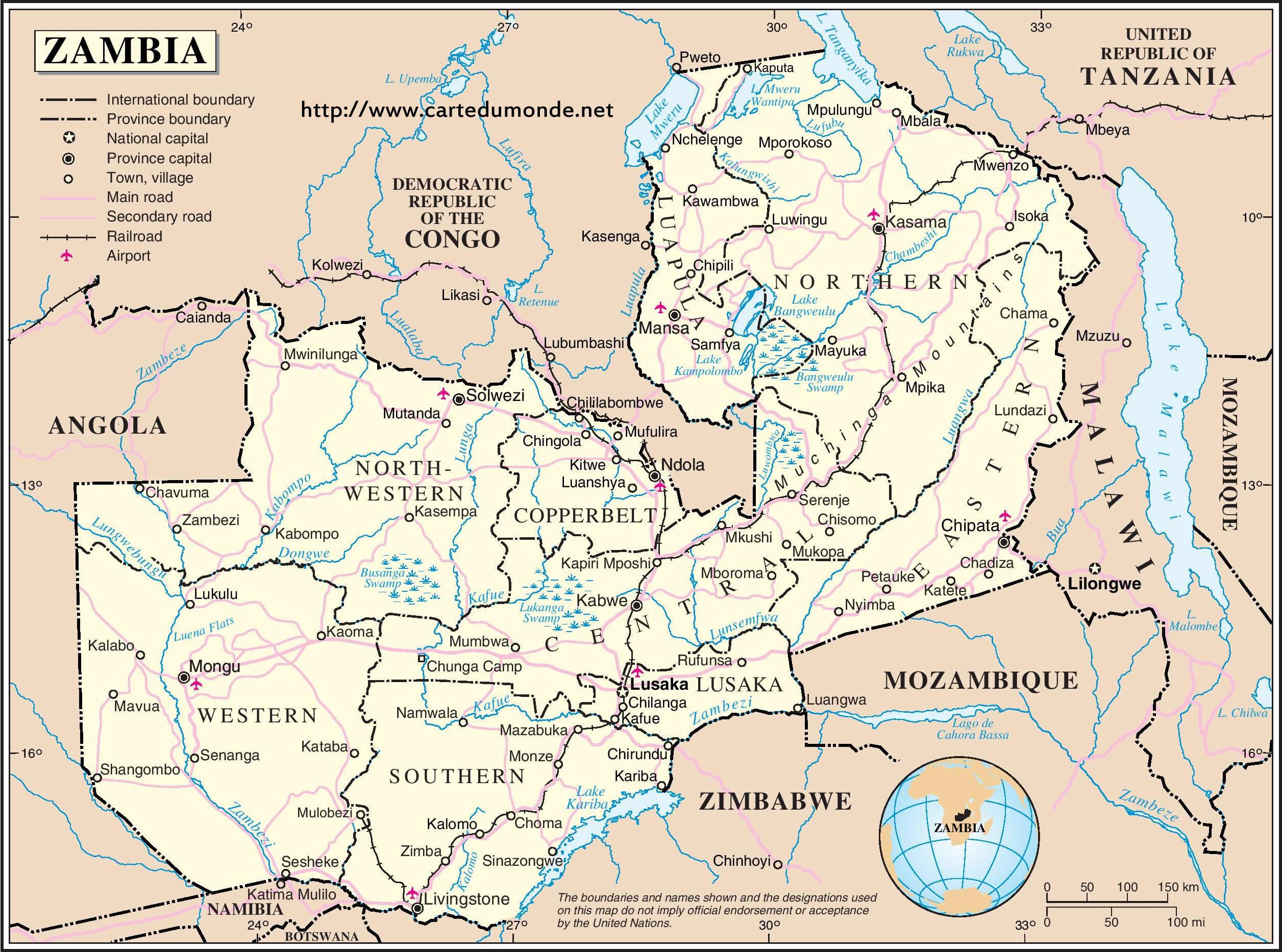 Map zambia country map zambia print the map zambia gumiabroncs Gallery