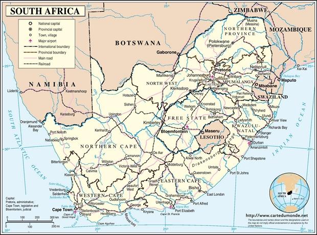 Kaart Zuid-Afrika