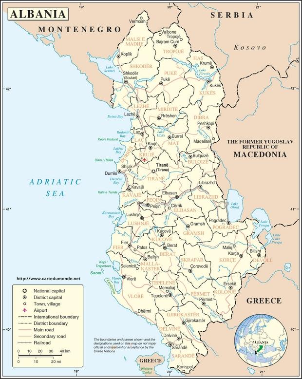 Karte Albanien