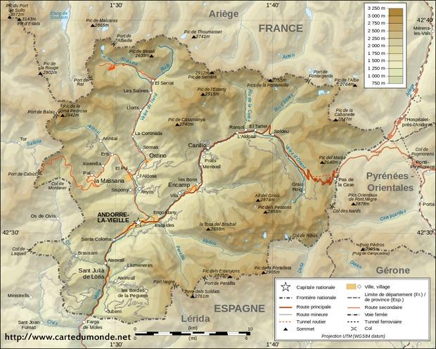 Kaart Andorra