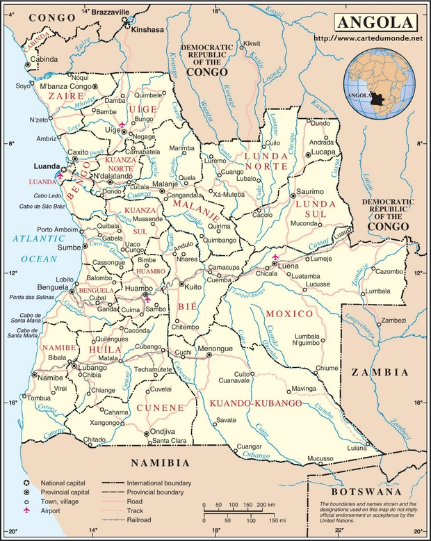 Mapa Angola