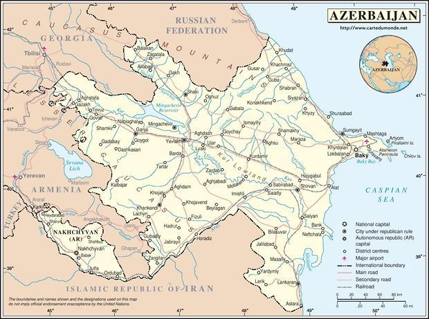 Kaart Azerbeidzjan