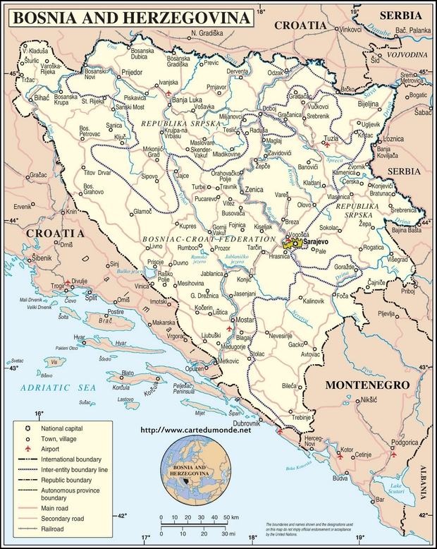 Map Bosnia and Herzegovina