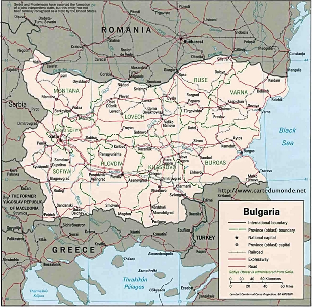 Carte Bulgarie