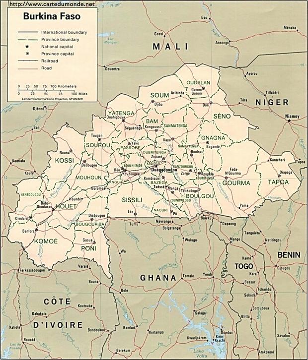 Mapa Burkina Faso
