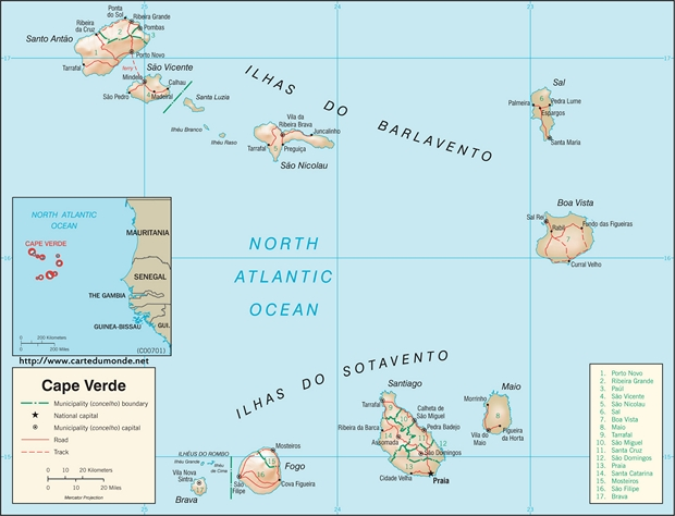 Map Cape Verde Country Map Cape Verde