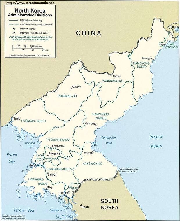 Mapa Korea Północna