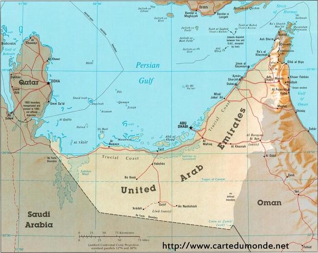 Kaart Verenigde Arabische Emiraten