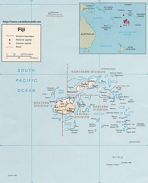 Map Fiji, Country Map Fiji