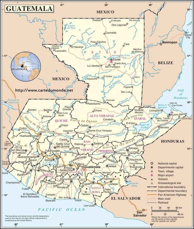 Mapa Gwatemala