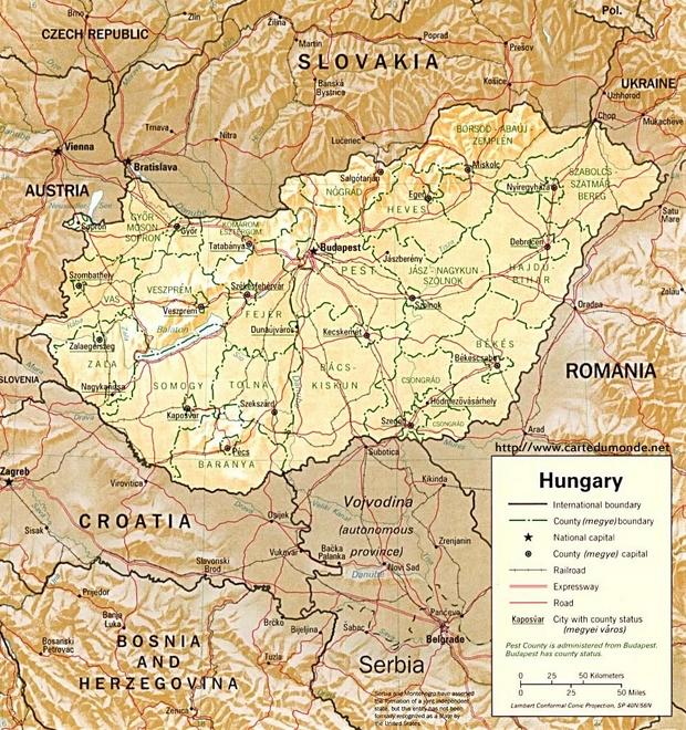 Mapa Węgry
