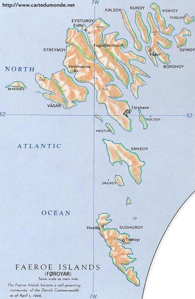 Mapa Wyspy Owcze