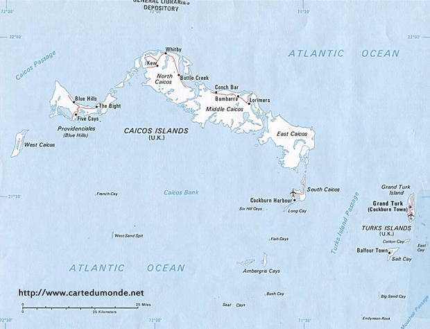 Map Turkey and Caicos Islands