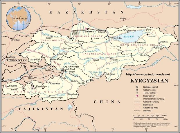 Kaart Kirgizië