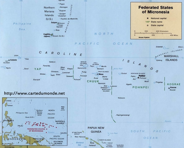 Kaart Micronesië