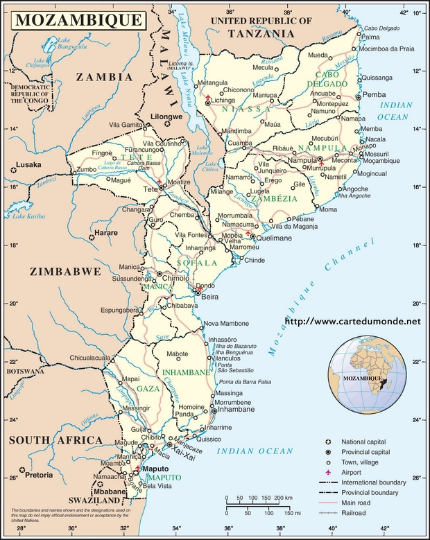 Map Mozambique Country Map Mozambique