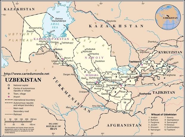Mapa Uzbekistan