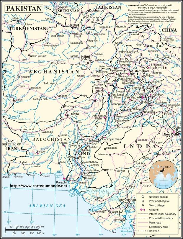Kaart Pakistan