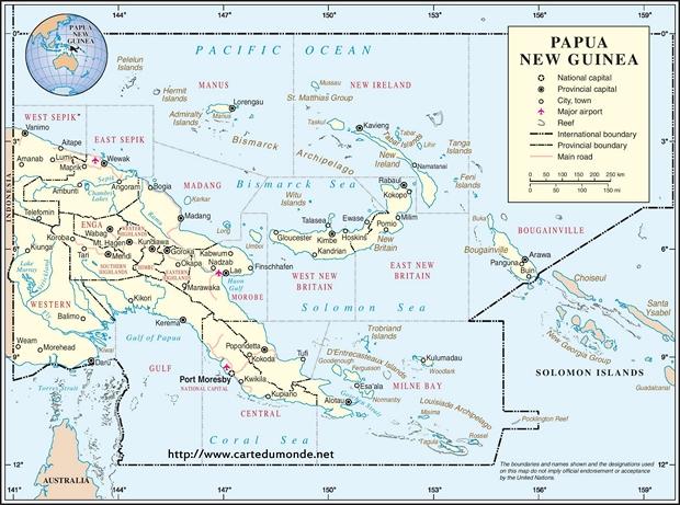 Kaart Papoea-Nieuw-Guinea