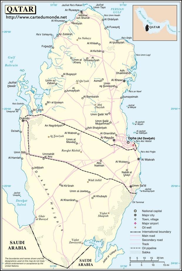 Mapa Katar