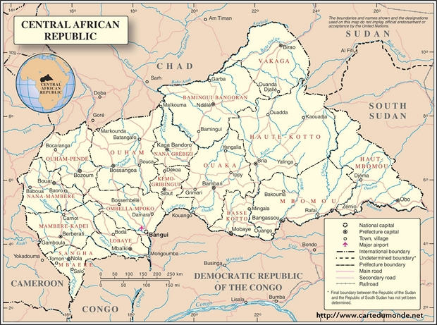 Map Central African Republic