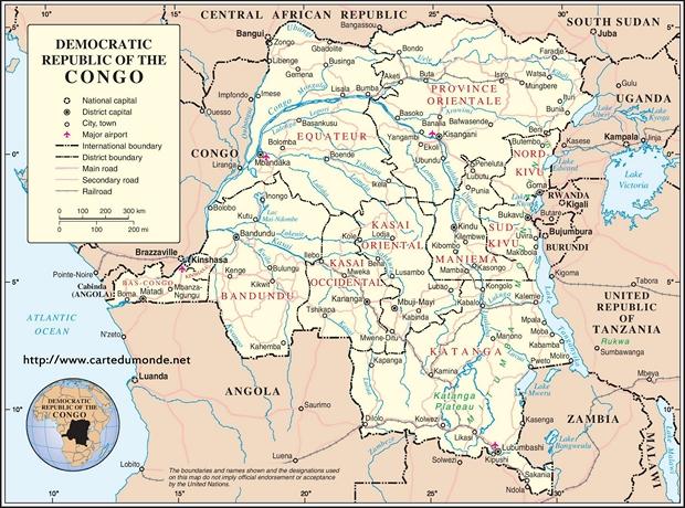 Carte République démocratique du Congo