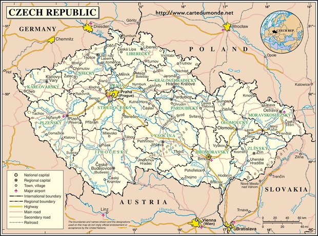 Mapa República Checa