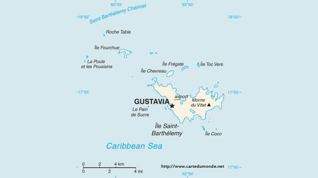 Kaart Saint-Barthélemy