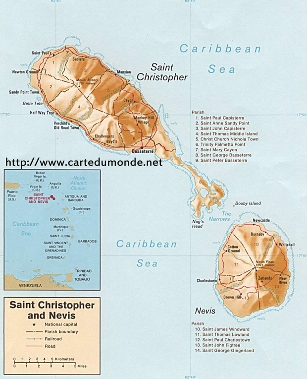 Map Saint Kitts and Nevis