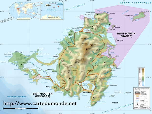 Mapa St Martin (French West Indies)