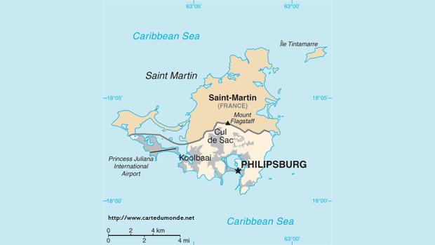 Kaart Saint-Martin