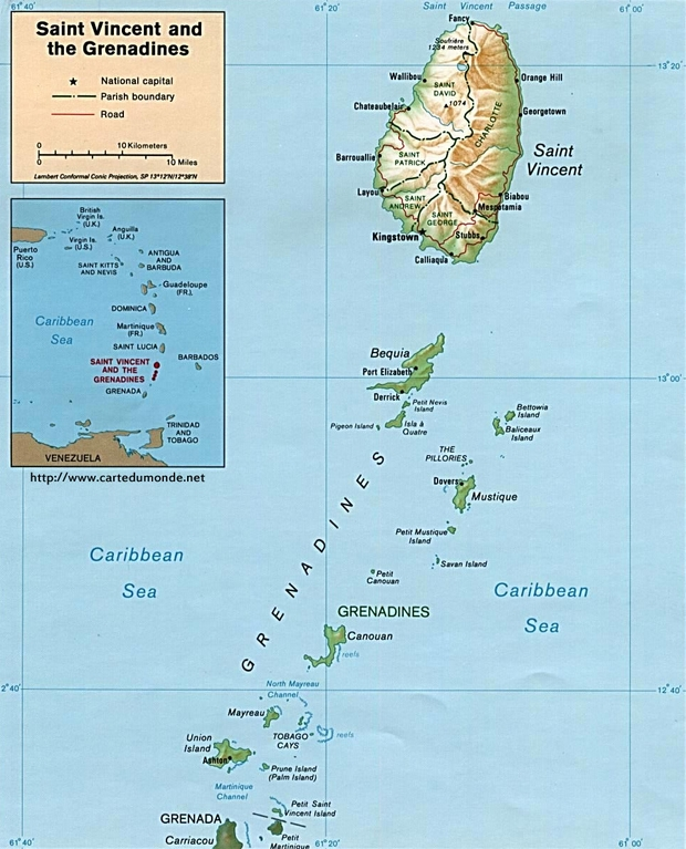 Carte Saint-Vincent-et-les-Grenadines