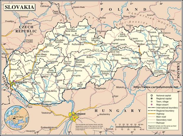 Karte Slowakei
