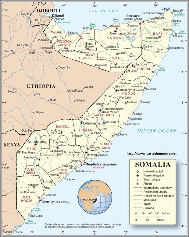 Karte Somalia