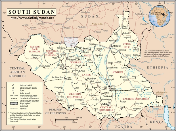 Map South Sudan Country Map South Sudan