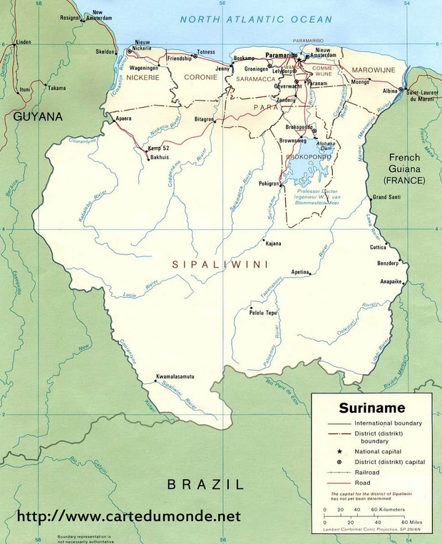 Carte Suriname