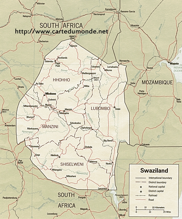 Map Swaziland