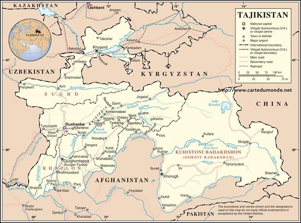 Kaart Tadzjikistan