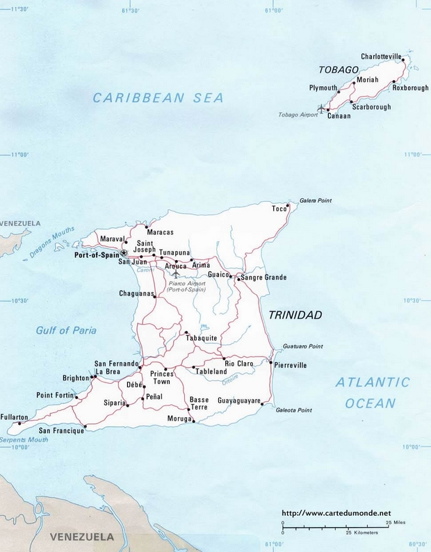 Carte Trinité-et-Tobago
