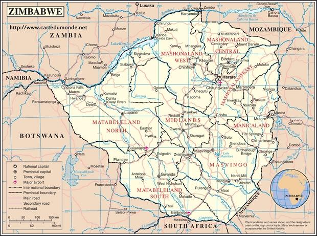 Carte Zimbabwe