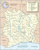 Mapa Wybrzeże Kości Słoniowej